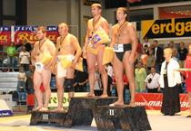 Кан-Демир Куулар на третьей ступеньке пьедестала. Чемпионат Европы 2006. Фото предоставлено пресс-службой города Риза (Германия