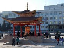 Молитвенный барабан на центральной площади Кызыла. Фото Виталия Шайфулина