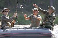 13 августа 2007. Президент России Владимир Путин, князь Монако Альберт II и глава МЧС Сергей Шойгу во время рыбной ловли в верховьях реки Енисей