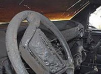 В Туве при перевозке бытового газового баллона воспламенился автомобиль полицейского