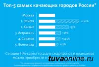 Кызыл вошел в топ-5 самых качающих городов России по данным Yota