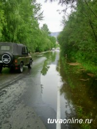 Подтопление участка дороги  Кызыл-Сарыг-Сеп