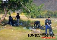 Сотрудники Кадастровой палаты Тувы собрали на берегу Енисея 40 мешков мусора