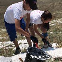 Кызыл: 120--метровую мантру на горе Догээ покрасили молодые волонтеры