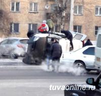 В Кызыле опрокинулась ГАЗЕЛЬ с 4 пассажирами