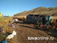 В Туве перевернулся автобус, направлявшийся из Бай-Тайги в Кызыл. 12 пассажиров получили травмы