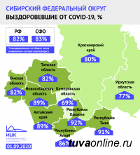 Республика Тыва входит в 10 регионов России с наибольшей долей пациентов, победивших коронавирус