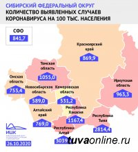 Тува покинула позицию лидера среди регионов Сибири с самым высоким индексом заболевших на 100 тысяч жителей