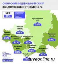 В Туве за неделю наибольший процент выздоровевших в Сибири - 92%