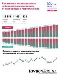 В Туве за сутки выявлено 104 новых случая инфицирования Covid, по России - 27543